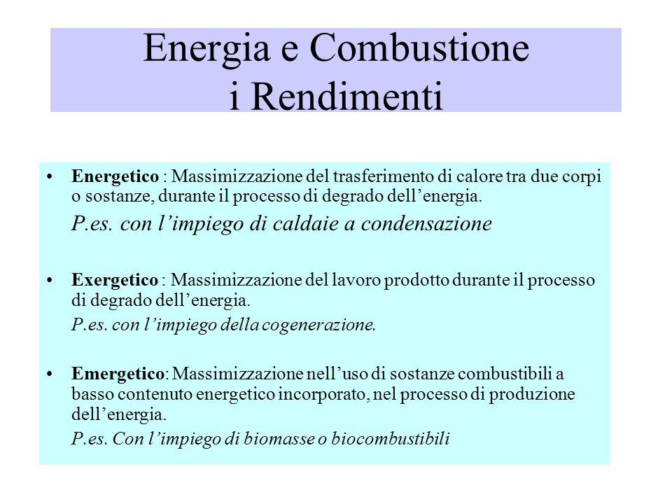 Energia e Combustione i Rendimenti Energetico : Massimizzazione del trasferimento di calore tra due corpi o sostanze, durante il processo di degrado dell'energia.