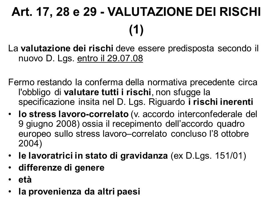 Art. 17, 28 e 29 - VALUTAZIONE DEI RISCHI (1) La valutazione dei rischi deve essere predisposta secondo il nuovo D. Lgs. entro il 29.07.08 Fermo resta