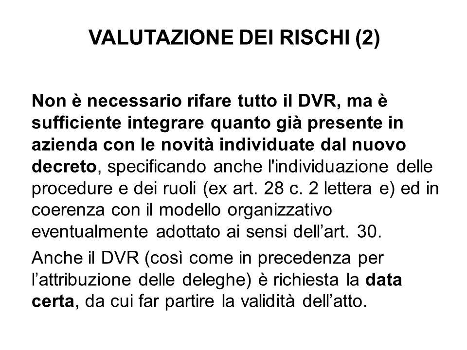 VALUTAZIONE DEI RISCHI (2) Non è necessario rifare tutto il DVR, ma è sufficiente integrare quanto già presente in azienda con le novità individuate d