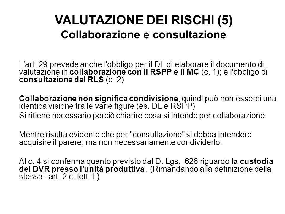 VALUTAZIONE DEI RISCHI (5) Collaborazione e consultazione L'art. 29 prevede anche l'obbligo per il DL di elaborare il documento di valutazione in coll