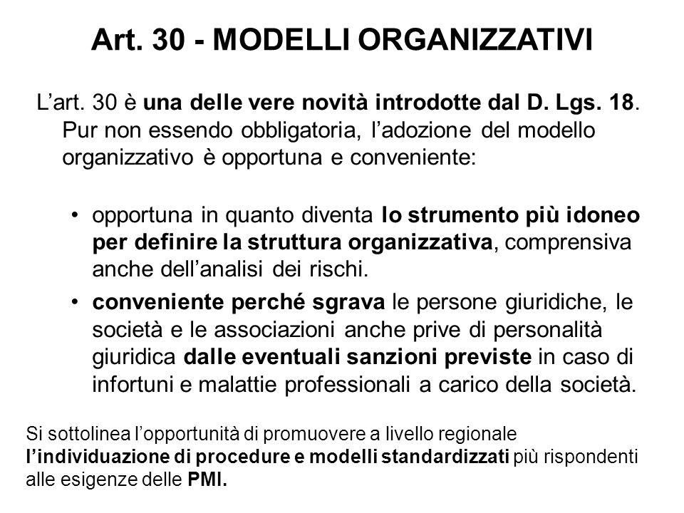 Art. 30 - MODELLI ORGANIZZATIVI L'art. 30 è una delle vere novità introdotte dal D. Lgs. 18. Pur non essendo obbligatoria, l'adozione del modello orga
