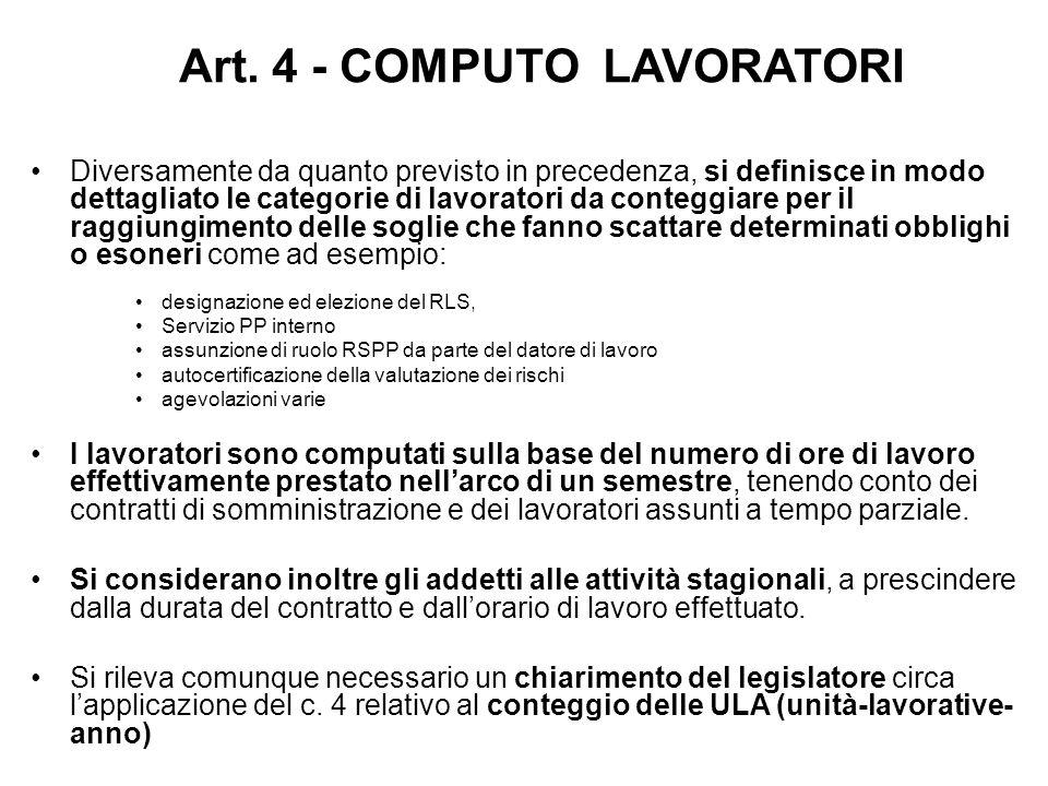 Art. 4 - COMPUTO LAVORATORI Diversamente da quanto previsto in precedenza, si definisce in modo dettagliato le categorie di lavoratori da conteggiare