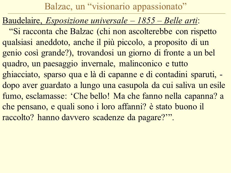 Balzac, un visionario appassionato Baudelaire, Esposizione universale – 1855 – Belle arti: Si racconta che Balzac (chi non ascolterebbe con rispetto qualsiasi aneddoto, anche il più piccolo, a proposito di un genio così grande?), trovandosi un giorno di fronte a un bel quadro, un paesaggio invernale, malinconico e tutto ghiacciato, sparso qua e là di capanne e di contadini sparuti, - dopo aver guardato a lungo una casupola da cui saliva un esile fumo, esclamasse: 'Che bello.