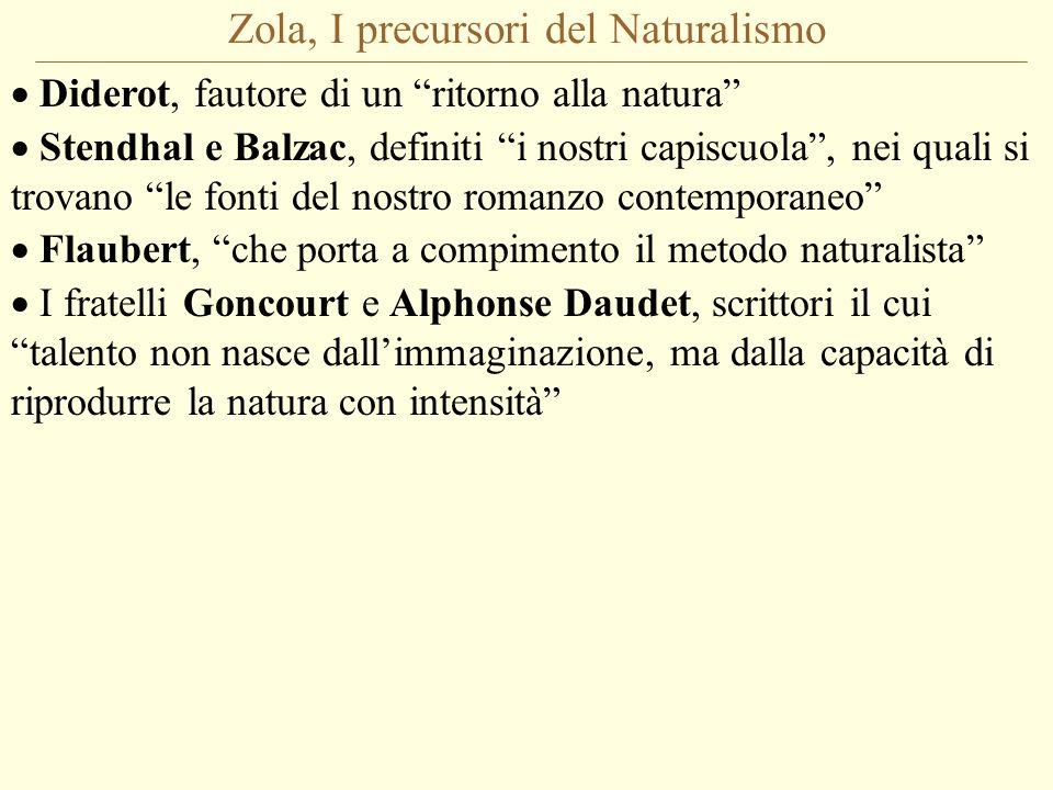 Zola, I precursori del Naturalismo  Diderot, fautore di un ritorno alla natura  Stendhal e Balzac, definiti i nostri capiscuola , nei quali si trovano le fonti del nostro romanzo contemporaneo  Flaubert, che porta a compimento il metodo naturalista  I fratelli Goncourt e Alphonse Daudet, scrittori il cui talento non nasce dall'immaginazione, ma dalla capacità di riprodurre la natura con intensità