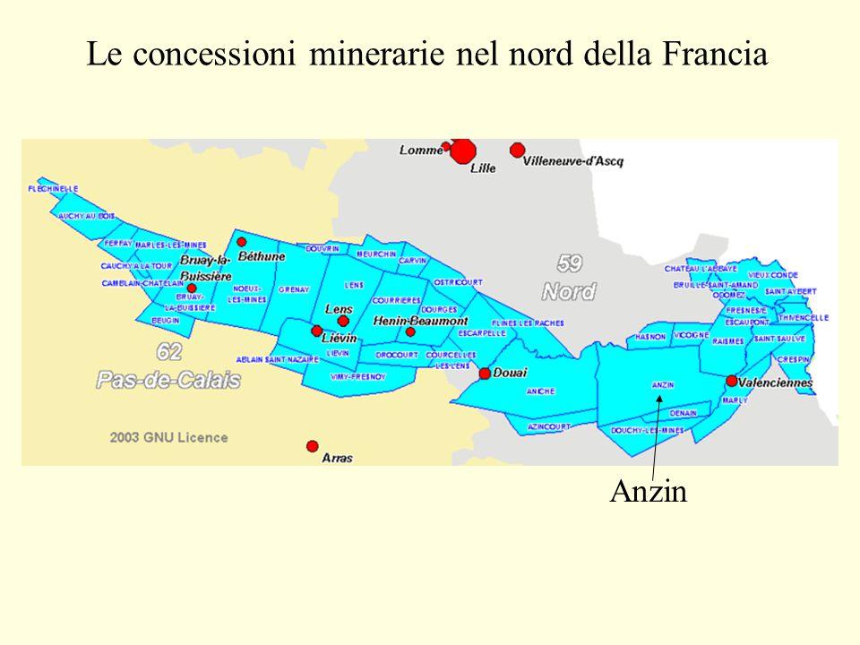 Le concessioni minerarie nel nord della Francia Anzin