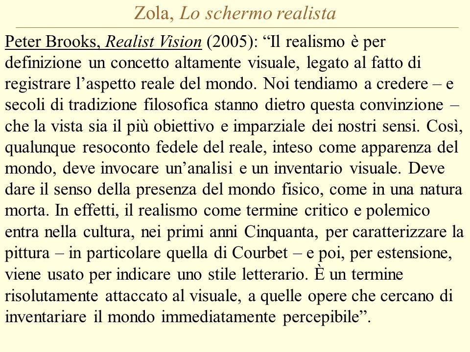 Zola, Lo schermo realista Peter Brooks, Realist Vision (2005): Il realismo è per definizione un concetto altamente visuale, legato al fatto di registrare l'aspetto reale del mondo.