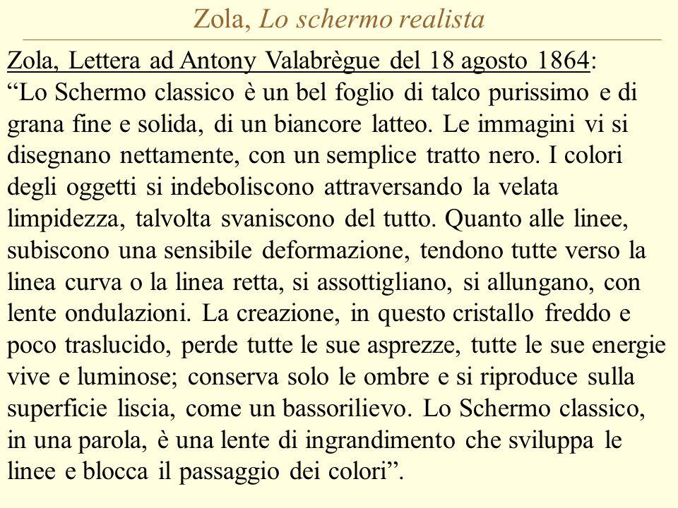 Zola, Lo schermo realista Zola, Lettera ad Antony Valabrègue del 18 agosto 1864: Lo Schermo classico è un bel foglio di talco purissimo e di grana fine e solida, di un biancore latteo.