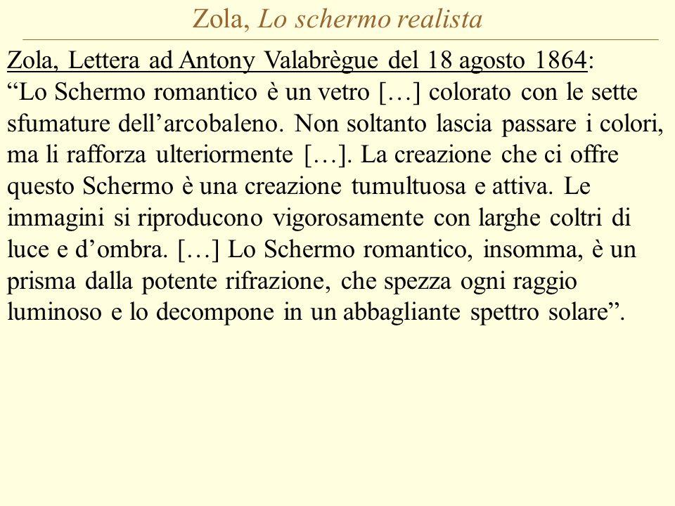 Zola, Lo schermo realista Zola, Lettera ad Antony Valabrègue del 18 agosto 1864: Lo Schermo romantico è un vetro […] colorato con le sette sfumature dell'arcobaleno.