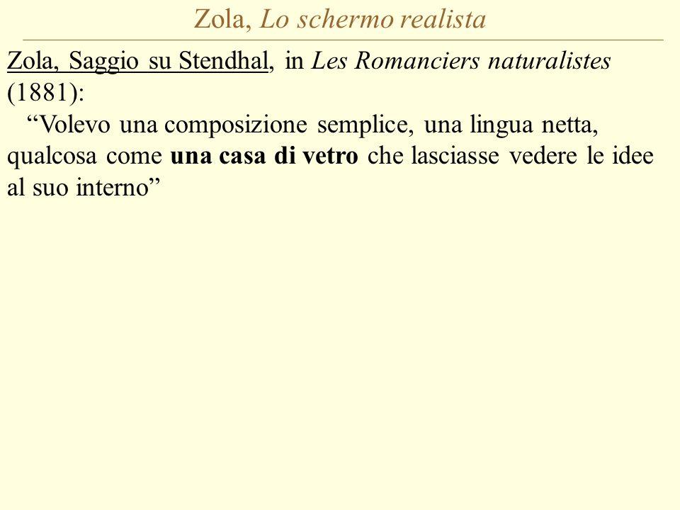 Zola, Lo schermo realista Zola, Saggio su Stendhal, in Les Romanciers naturalistes (1881): Volevo una composizione semplice, una lingua netta, qualcosa come una casa di vetro che lasciasse vedere le idee al suo interno