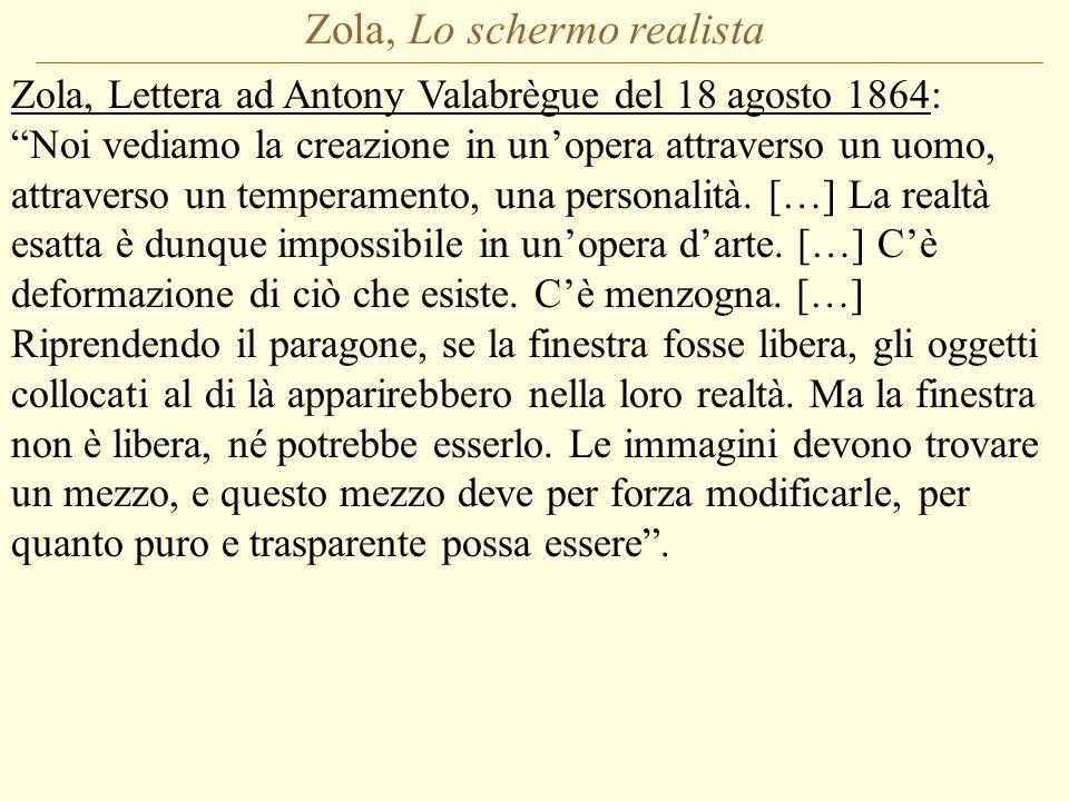 Zola, Lo schermo realista Zola, Lettera ad Antony Valabrègue del 18 agosto 1864: Noi vediamo la creazione in un'opera attraverso un uomo, attraverso un temperamento, una personalità.