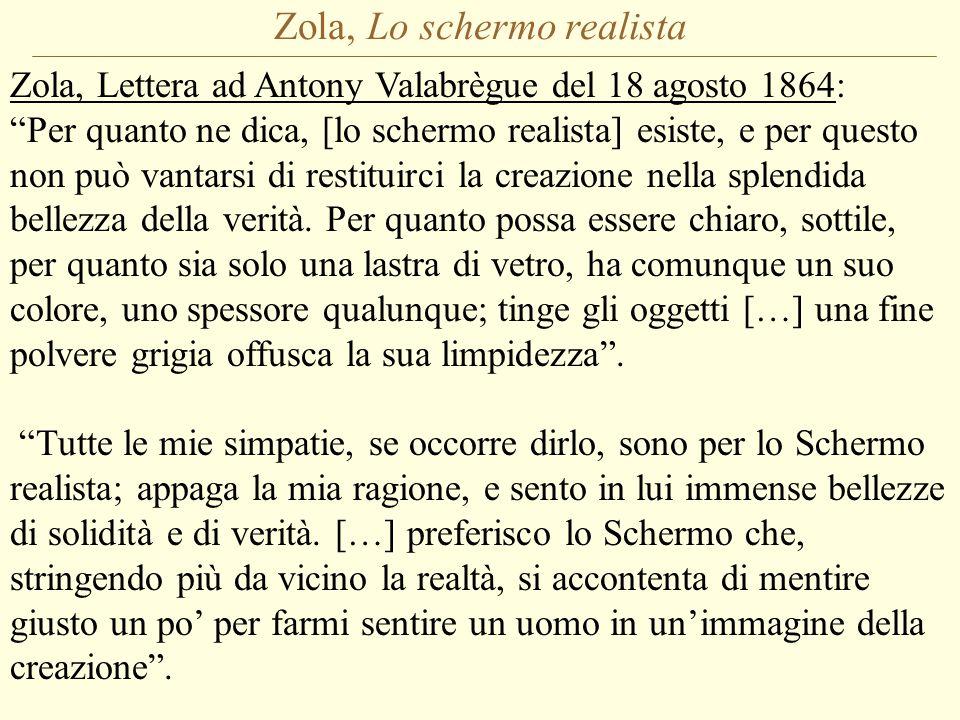 Zola, Lo schermo realista Zola, Lettera ad Antony Valabrègue del 18 agosto 1864: Per quanto ne dica, [lo schermo realista] esiste, e per questo non può vantarsi di restituirci la creazione nella splendida bellezza della verità.