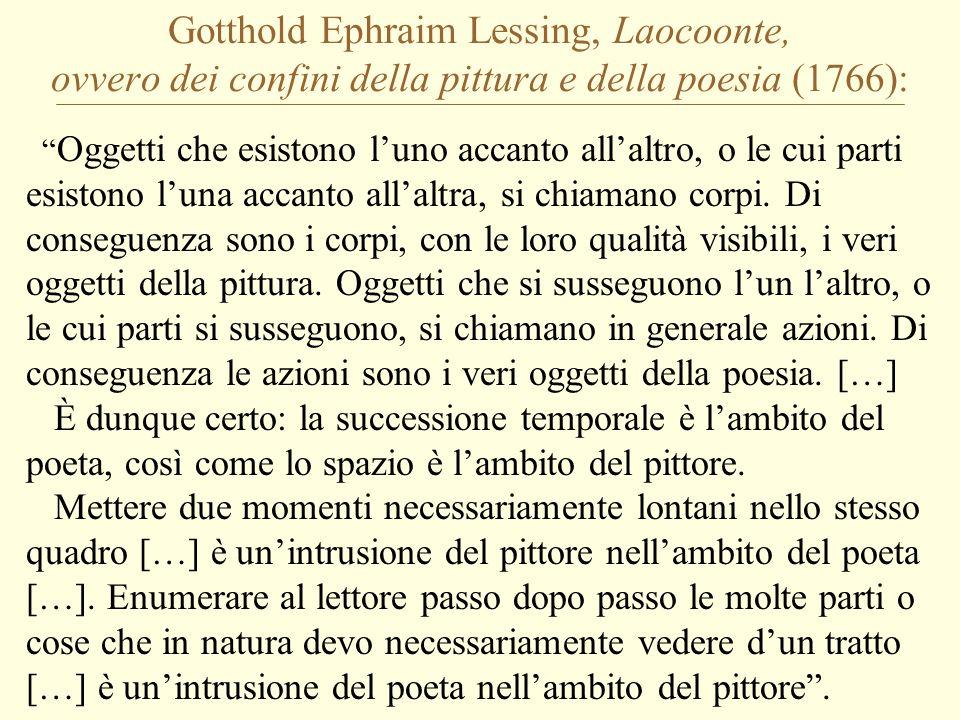 Gotthold Ephraim Lessing, Laocoonte, ovvero dei confini della pittura e della poesia (1766): Oggetti che esistono l'uno accanto all'altro, o le cui parti esistono l'una accanto all'altra, si chiamano corpi.
