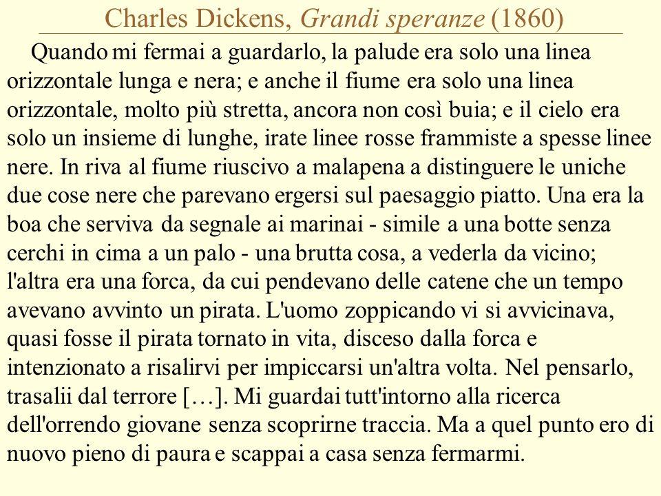 Charles Dickens, Grandi speranze (1860) Quando mi fermai a guardarlo, la palude era solo una linea orizzontale lunga e nera; e anche il fiume era solo una linea orizzontale, molto più stretta, ancora non così buia; e il cielo era solo un insieme di lunghe, irate linee rosse frammiste a spesse linee nere.