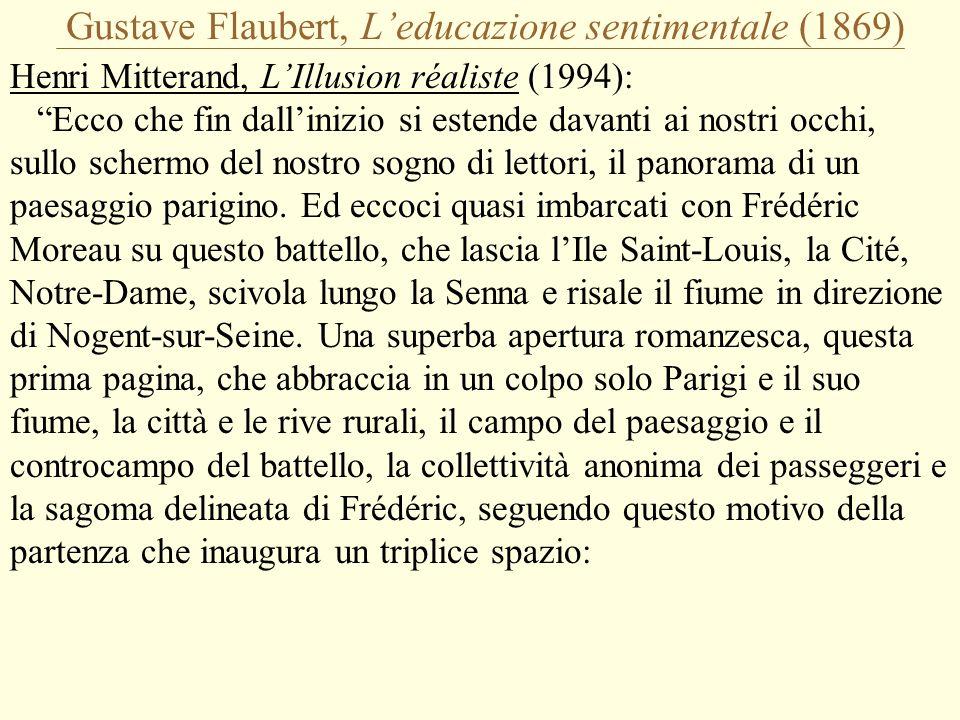 Gustave Flaubert, L'educazione sentimentale (1869) Henri Mitterand, L'Illusion réaliste (1994): Ecco che fin dall'inizio si estende davanti ai nostri occhi, sullo schermo del nostro sogno di lettori, il panorama di un paesaggio parigino.