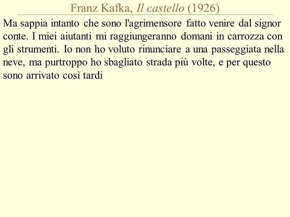 Franz Kafka, Il castello (1926) Ma sappia intanto che sono l agrimensore fatto venire dal signor conte.