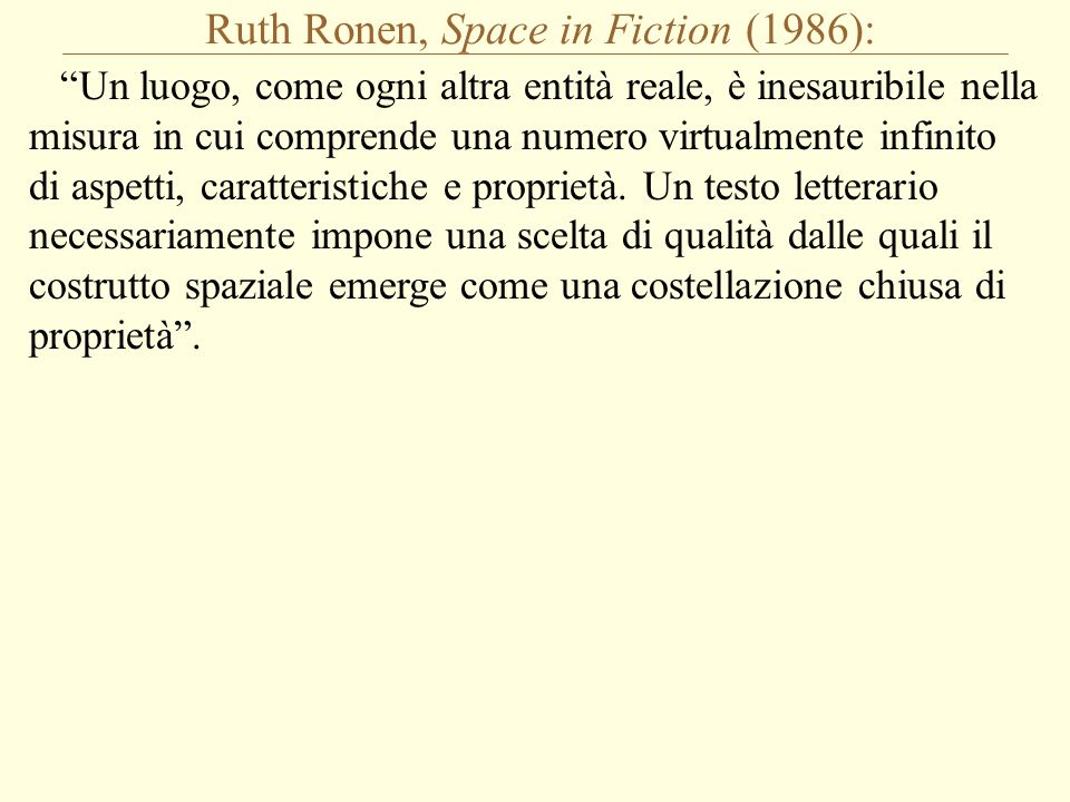 Ruth Ronen, Space in Fiction (1986): Un luogo, come ogni altra entità reale, è inesauribile nella misura in cui comprende una numero virtualmente infinito di aspetti, caratteristiche e proprietà.