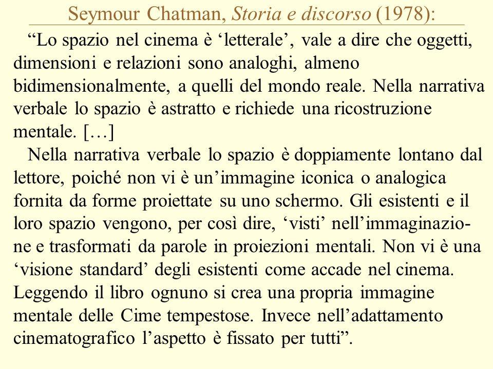 Seymour Chatman, Storia e discorso (1978): Lo spazio nel cinema è 'letterale', vale a dire che oggetti, dimensioni e relazioni sono analoghi, almeno bidimensionalmente, a quelli del mondo reale.