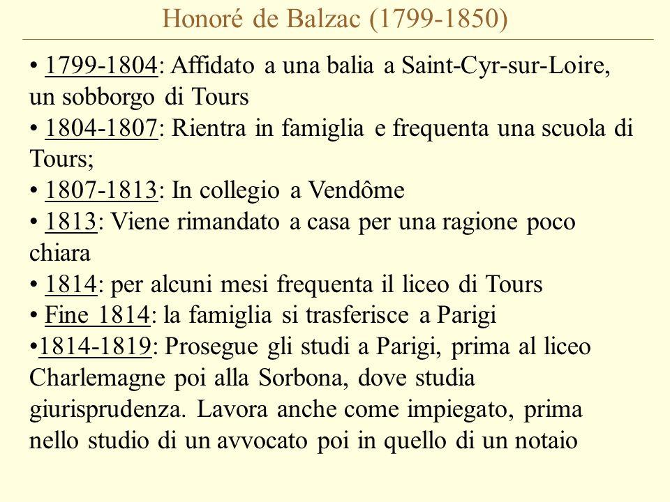 Honoré de Balzac (1799-1850) 1799-1804: Affidato a una balia a Saint-Cyr-sur-Loire, un sobborgo di Tours 1804-1807: Rientra in famiglia e frequenta una scuola di Tours; 1807-1813: In collegio a Vendôme 1813: Viene rimandato a casa per una ragione poco chiara 1814: per alcuni mesi frequenta il liceo di Tours Fine 1814: la famiglia si trasferisce a Parigi 1814-1819: Prosegue gli studi a Parigi, prima al liceo Charlemagne poi alla Sorbona, dove studia giurisprudenza.