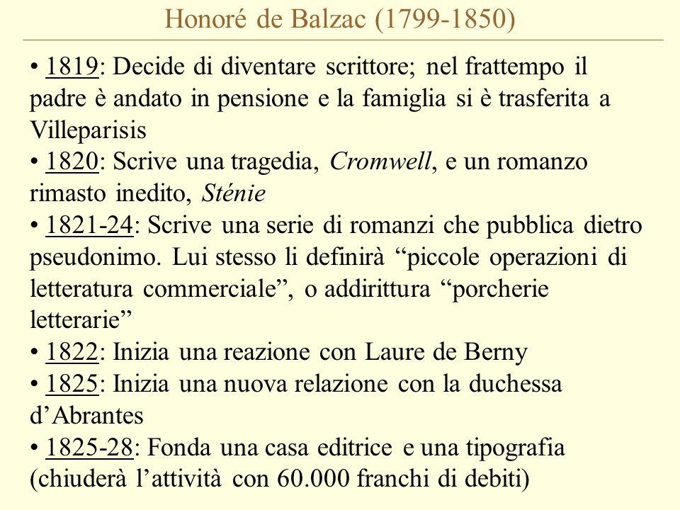 Honoré de Balzac (1799-1850) 1819: Decide di diventare scrittore; nel frattempo il padre è andato in pensione e la famiglia si è trasferita a Villeparisis 1820: Scrive una tragedia, Cromwell, e un romanzo rimasto inedito, Sténie 1821-24: Scrive una serie di romanzi che pubblica dietro pseudonimo.