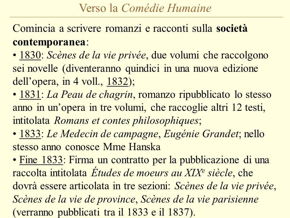 Verso la Comédie Humaine Comincia a scrivere romanzi e racconti sulla società contemporanea: 1830: Scènes de la vie privée, due volumi che raccolgono sei novelle (diventeranno quindici in una nuova edizione dell'opera, in 4 voll., 1832); 1831: La Peau de chagrin, romanzo ripubblicato lo stesso anno in un'opera in tre volumi, che raccoglie altri 12 testi, intitolata Romans et contes philosophiques; 1833: Le Medecin de campagne, Eugénie Grandet; nello stesso anno conosce Mme Hanska Fine 1833: Firma un contratto per la pubblicazione di una raccolta intitolata Études de moeurs au XIX e siècle, che dovrà essere articolata in tre sezioni: Scènes de la vie privée, Scènes de la vie de province, Scènes de la vie parisienne (verranno pubblicati tra il 1833 e il 1837).