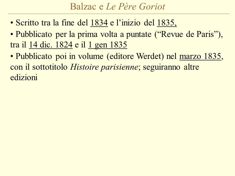 Balzac e Le Père Goriot Scritto tra la fine del 1834 e l'inizio del 1835, Pubblicato per la prima volta a puntate ( Revue de Paris ), tra il 14 dic.