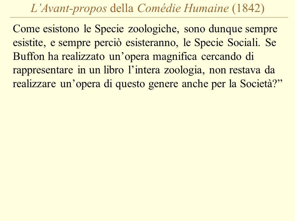 L'Avant-propos della Comédie Humaine (1842) Come esistono le Specie zoologiche, sono dunque sempre esistite, e sempre perciò esisteranno, le Specie Sociali.