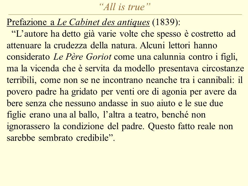 All is true Prefazione a Le Cabinet des antiques (1839): L'autore ha detto già varie volte che spesso è costretto ad attenuare la crudezza della natura.
