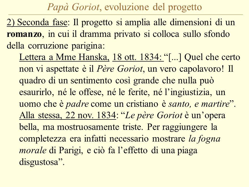 Papà Goriot, evoluzione del progetto 2) Seconda fase: Il progetto si amplia alle dimensioni di un romanzo, in cui il dramma privato si colloca sullo sfondo della corruzione parigina: Lettera a Mme Hanska, 18 ott.