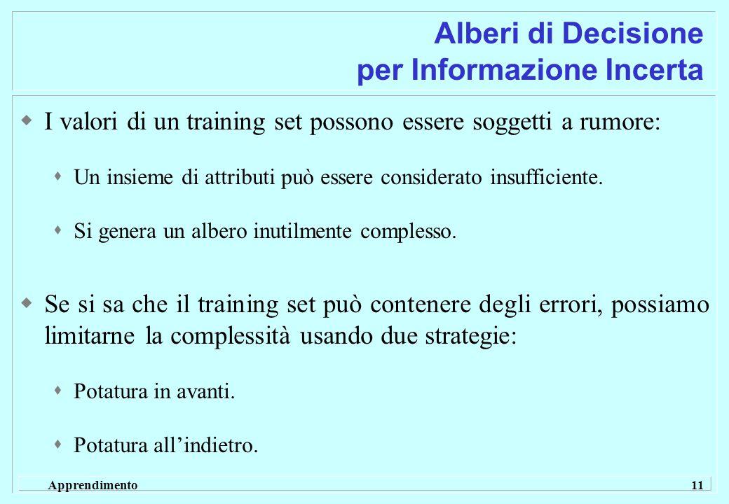Apprendimento 11 Alberi di Decisione per Informazione Incerta  I valori di un training set possono essere soggetti a rumore:  Un insieme di attributi può essere considerato insufficiente.
