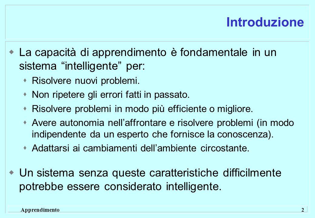Apprendimento 2 Introduzione  La capacità di apprendimento è fondamentale in un sistema intelligente per:  Risolvere nuovi problemi.