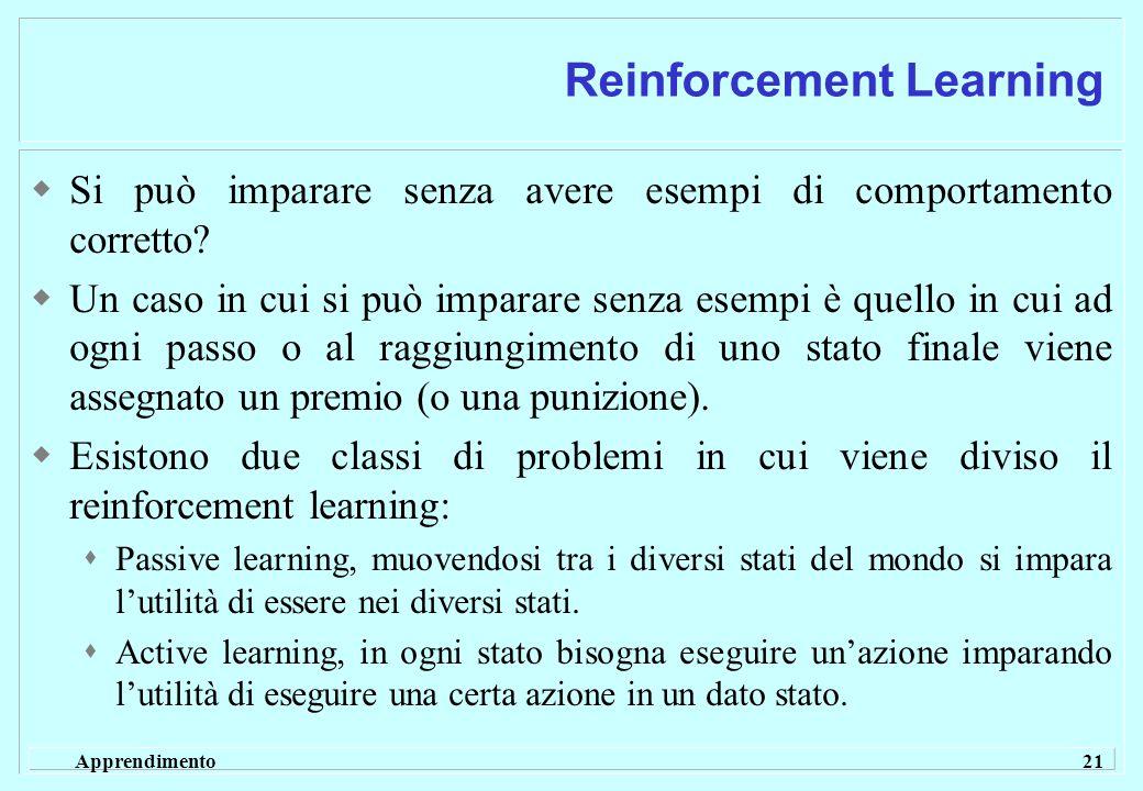 Apprendimento 21 Reinforcement Learning  Si può imparare senza avere esempi di comportamento corretto.