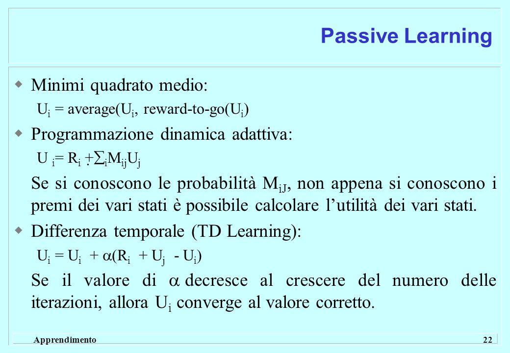 Apprendimento 22 Passive Learning  Minimi quadrato medio: U i = average(U i, reward-to-go(U i )  Programmazione dinamica adattiva: U i = R i +  i M ij U j Se si conoscono le probabilità M iJ, non appena si conoscono i premi dei vari stati è possibile calcolare l'utilità dei vari stati.