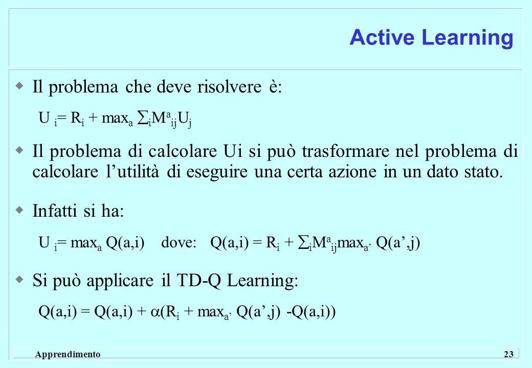 Apprendimento 23 Active Learning  Il problema che deve risolvere è: U i = R i + max a  i M a ij U j  Il problema di calcolare Ui si può trasformare nel problema di calcolare l'utilità di eseguire una certa azione in un dato stato.