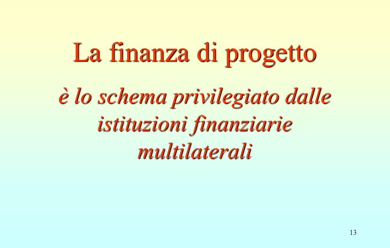 13 La finanza di progetto è lo schema privilegiato dalle istituzioni finanziarie multilaterali