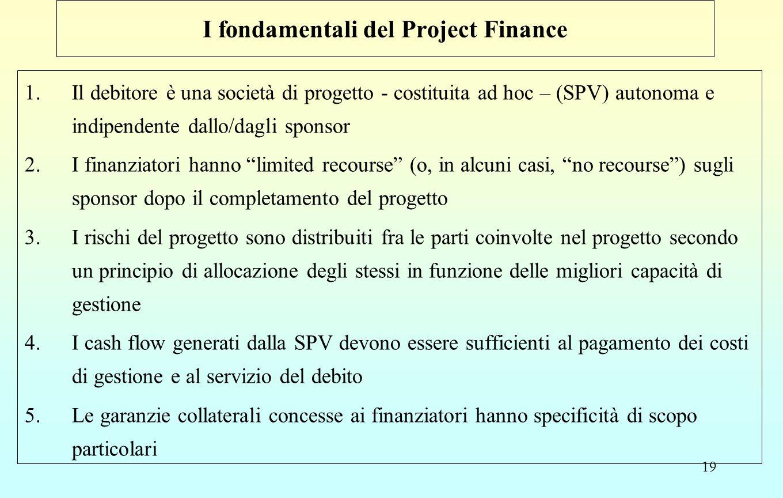 19 I fondamentali del Project Finance 1.Il debitore è una società di progetto - costituita ad hoc – (SPV) autonoma e indipendente dallo/dagli sponsor