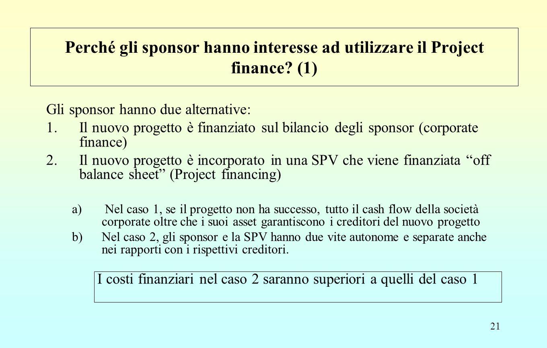 21 Perché gli sponsor hanno interesse ad utilizzare il Project finance? (1) Gli sponsor hanno due alternative: 1.Il nuovo progetto è finanziato sul bi