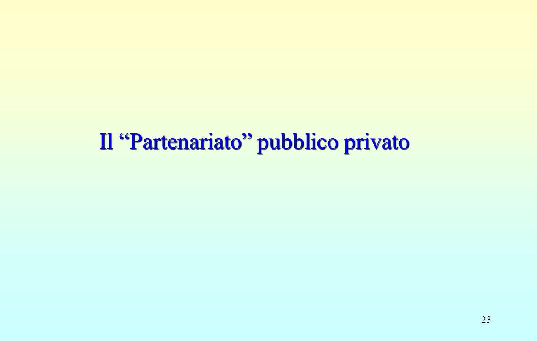 """23 Il """"Partenariato"""" pubblico privato"""