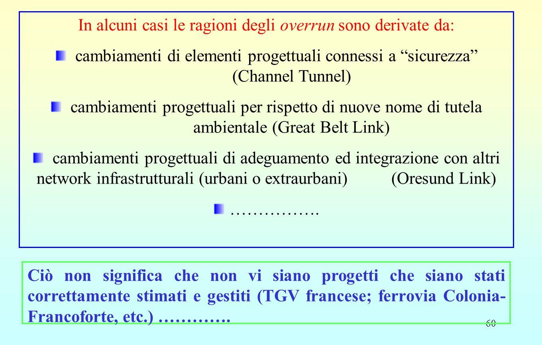 """60 In alcuni casi le ragioni degli overrun sono derivate da: cambiamenti di elementi progettuali connessi a """"sicurezza"""" (Channel Tunnel) cambiamenti p"""