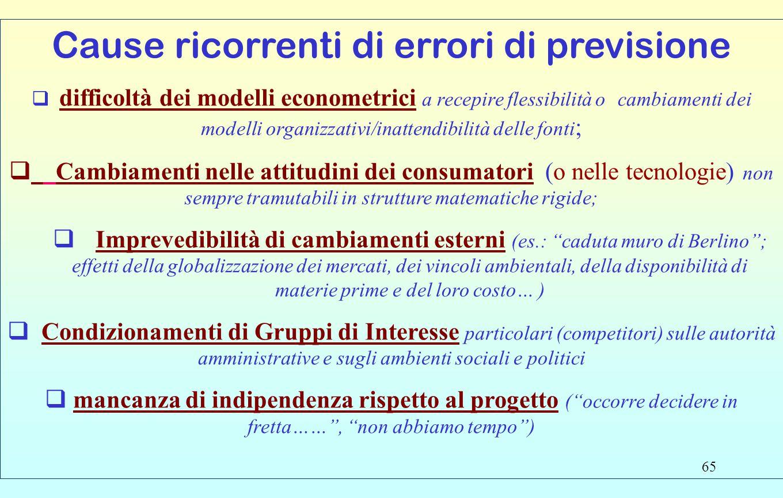 65 Cause ricorrenti di errori di previsione  difficoltà dei modelli econometrici a recepire flessibilità o cambiamenti dei modelli organizzativi/inat