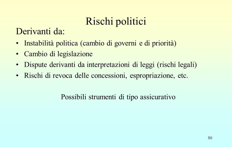 86 Rischi politici Derivanti da: Instabilità politica (cambio di governi e di priorità) Cambio di legislazione Dispute derivanti da interpretazioni di leggi (rischi legali) Rischi di revoca delle concessioni, espropriazione, etc.