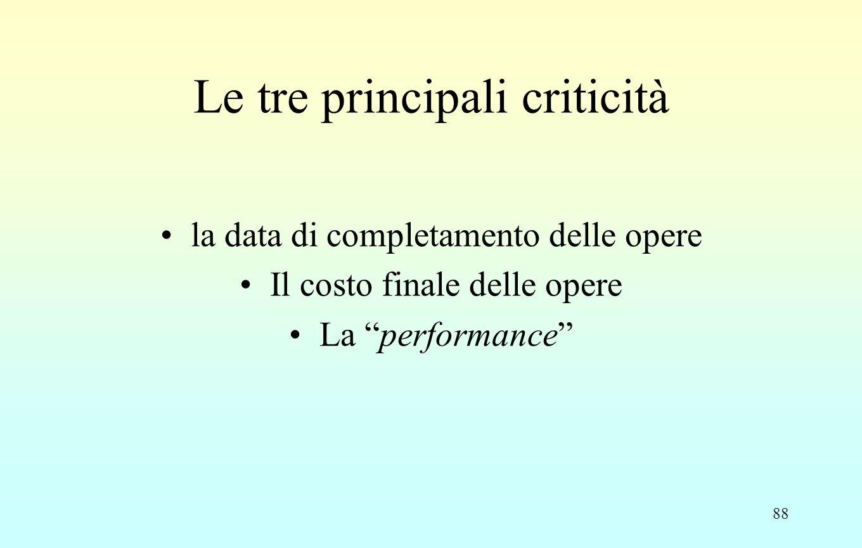 88 Le tre principali criticità la data di completamento delle opere Il costo finale delle opere La performance