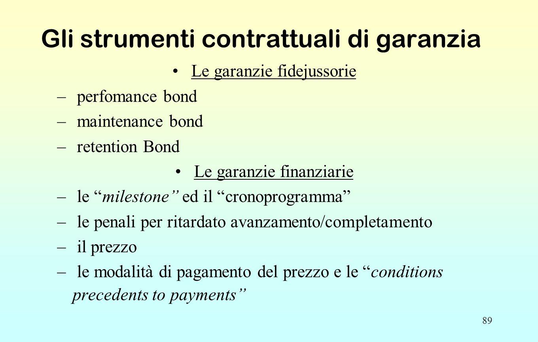 89 Gli strumenti contrattuali di garanzia Le garanzie fidejussorie – perfomance bond – maintenance bond – retention Bond Le garanzie finanziarie – le