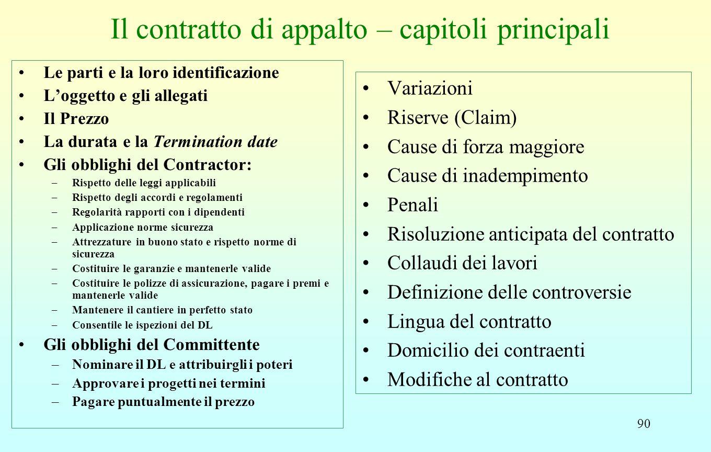 90 Il contratto di appalto – capitoli principali Le parti e la loro identificazione L'oggetto e gli allegati Il Prezzo La durata e la Termination date