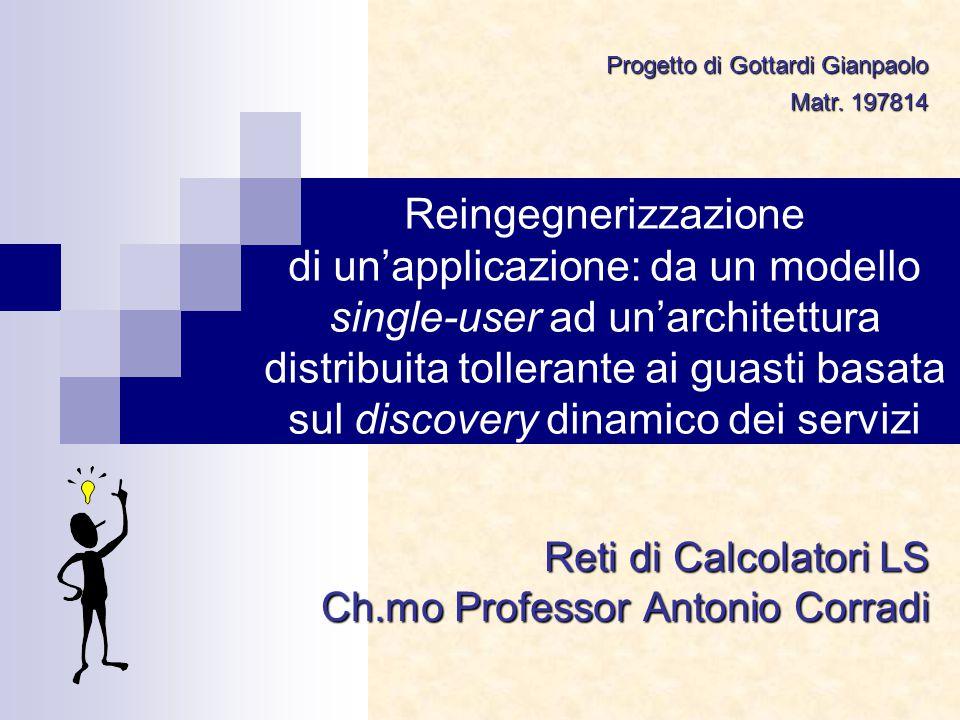 Reingegnerizzazione di un'applicazione: da un modello single-user ad un'architettura distribuita tollerante ai guasti basata sul discovery dinamico dei servizi Reti di Calcolatori LS Ch.mo Professor Antonio Corradi Progetto di Gottardi Gianpaolo Matr.
