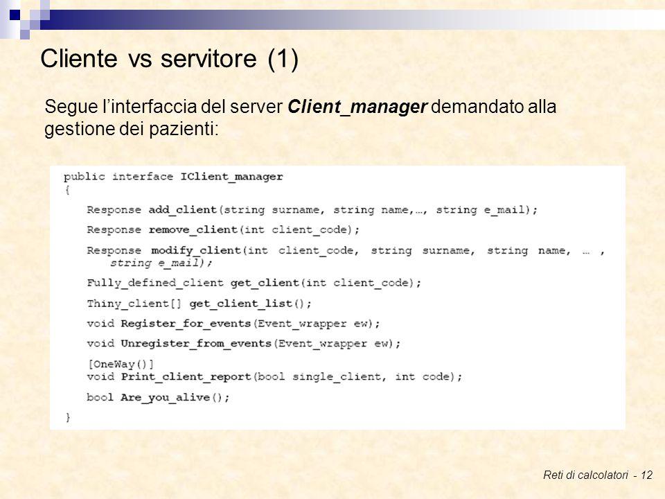 Cliente vs servitore (1) Segue l'interfaccia del server Client_manager demandato alla gestione dei pazienti: Reti di calcolatori - 12