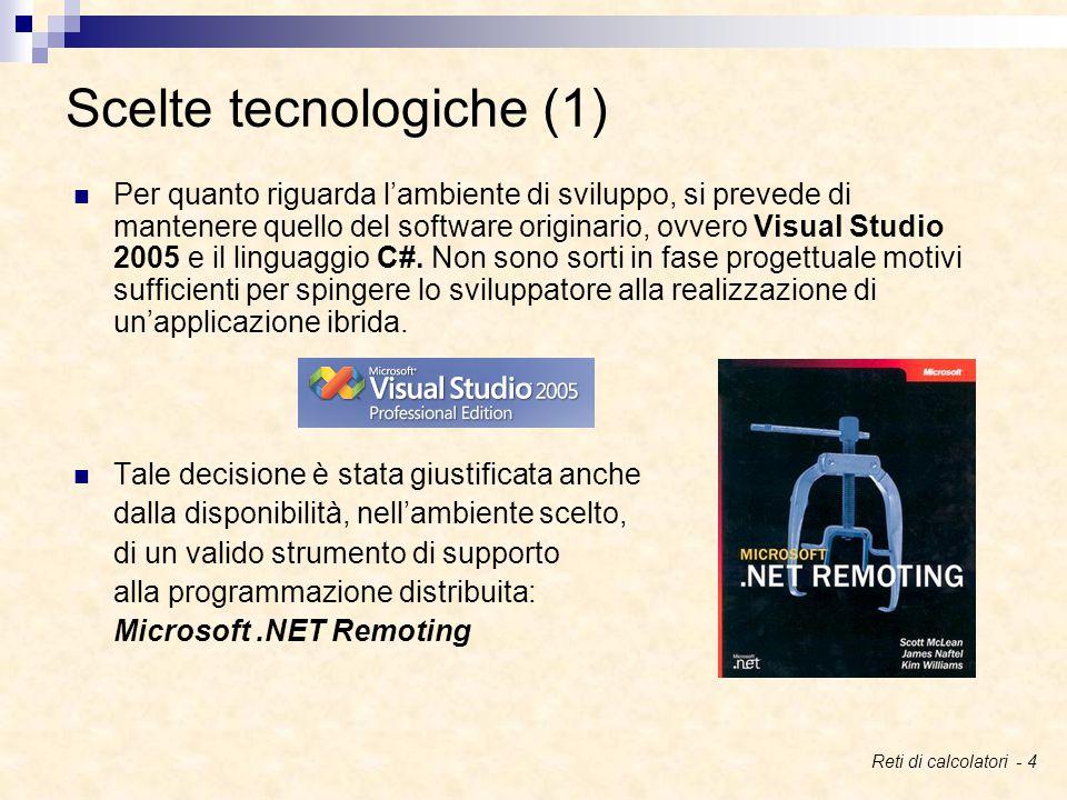 Scelte tecnologiche (1) Per quanto riguarda l'ambiente di sviluppo, si prevede di mantenere quello del software originario, ovvero Visual Studio 2005 e il linguaggio C#.