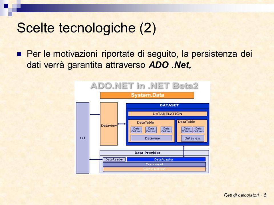 Per le motivazioni riportate di seguito, la persistenza dei dati verrà garantita attraverso ADO.Net, Scelte tecnologiche (2) Reti di calcolatori - 5
