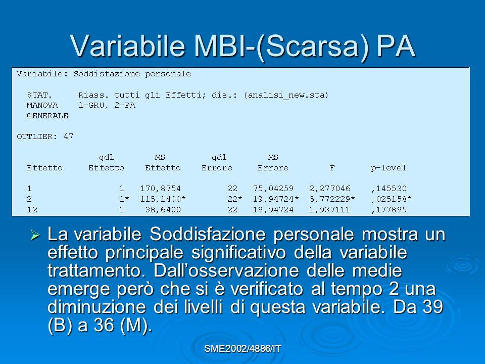 SME2002/4886/IT Variabile MBI-(Scarsa) PA  La variabile Soddisfazione personale mostra un effetto principale significativo della variabile trattamento.