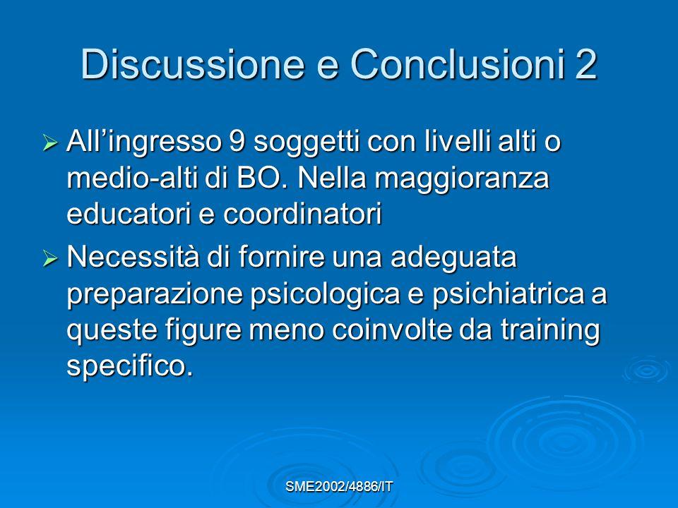 SME2002/4886/IT Discussione e Conclusioni 2  All'ingresso 9 soggetti con livelli alti o medio-alti di BO.