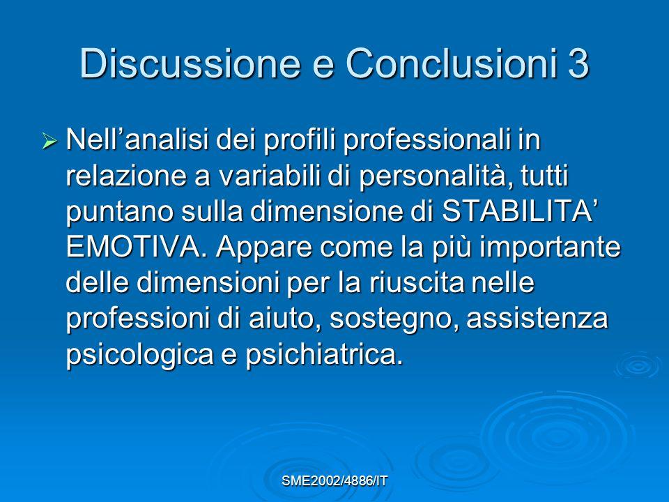 SME2002/4886/IT Discussione e Conclusioni 3  Nell'analisi dei profili professionali in relazione a variabili di personalità, tutti puntano sulla dimensione di STABILITA' EMOTIVA.